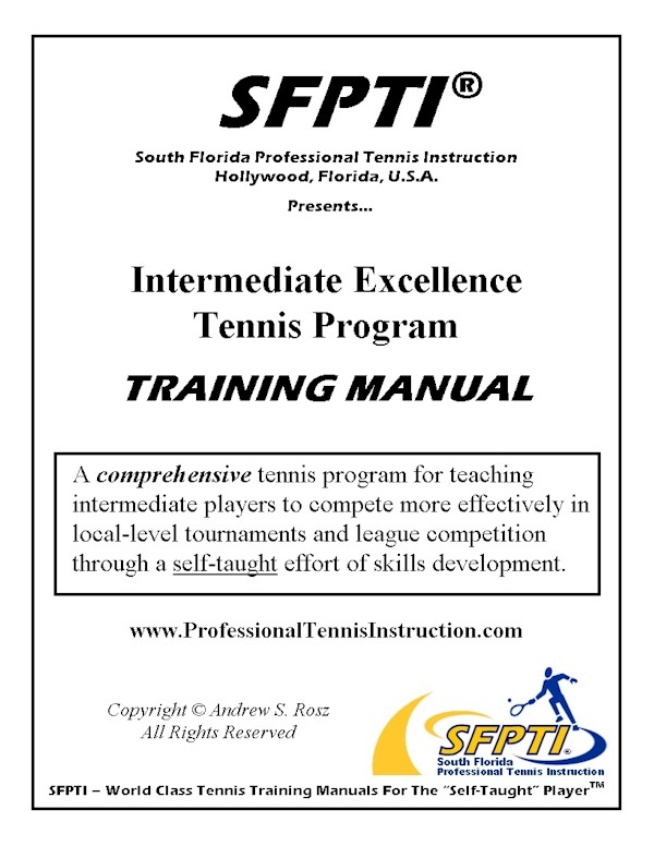 Internediate Excellence Tennis Program - Training Manual